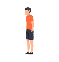 teen boy standing with hands in his pockets boy vector image