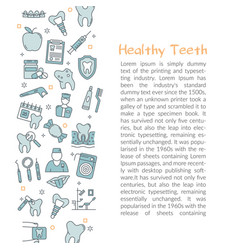 template with text healty teeth blue outline icon vector image