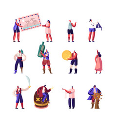 tiny pirates and travelers characters set people vector image