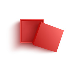 top view on empty open red paper box in realistic vector image
