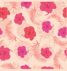 Tropical pink hibiscus flowers seamless pattern vector
