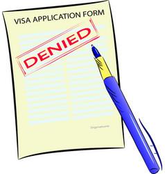 visa application form with denied stamp vector image