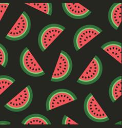 Watermelon seamless pattern on black background vector