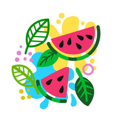 watermelon slices on colored summer background vector image