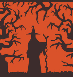 witch silhouette standing in haunted forest scene vector image