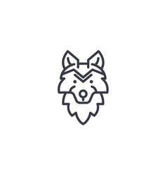 Wolf head line icon sign on vector
