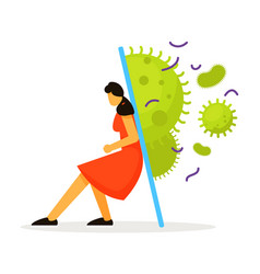 Woman stay home under protection from virus vector