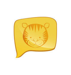 Yellow square chat bubble with tiger animal inside vector