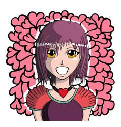 young manga girl vector image
