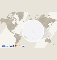 Zoom on marshall islands map and flag world map vector