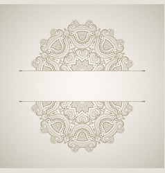 background with round lace pattern oriental card vector image