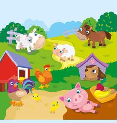 Cartoon Cute Farm Animals vector image vector image