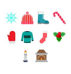 flat color winter season icon set vector image