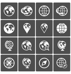 Globe icon pack on dark background vector image vector image