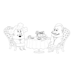 Old Gentleman and lady drinking coffee contour vector image vector image
