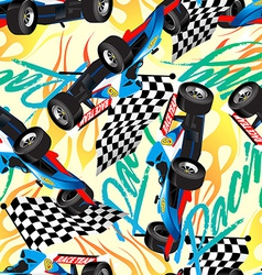 Racing with checkered flag seamless pattern vector image vector image