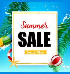 Summer sale titile on white rectangle over vector