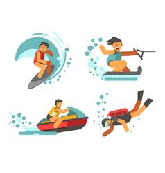 summer water healthy activities poster on vector image