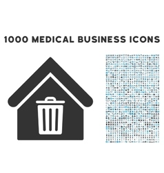Trash House Icon with 1000 Medical Business vector image