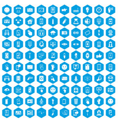 100 touch screen icons set blue vector