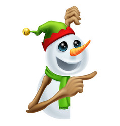 christmas snowman pointing vector image vector image