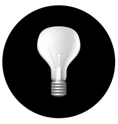 realistic light bulb on black vector image vector image