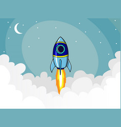 rocket in the clouds vector image