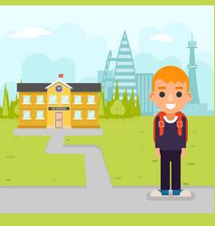 school boy pupil education building student vector image