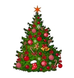 Beautifully decorated Christmas tree isolated on vector image