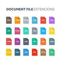 flat style icon set document text file type vector image