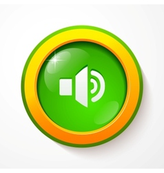 Green glass sound button vector image