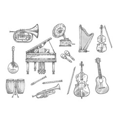 musical instrument sketch of classic jazz music vector image