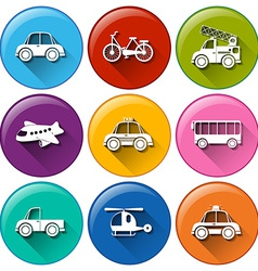 Round buttons with the different transportations vector image