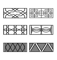 set of black fences vector image