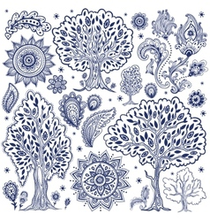 Set of unique ethnic trees and flowers vector image vector image