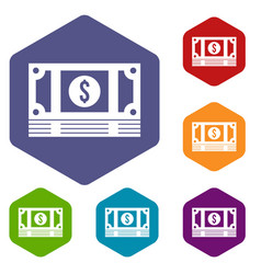 stack of money icons set vector image