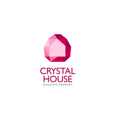 crystal logo silhouette house identity vector image vector image