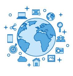 globe world internet concept network media items vector image vector image