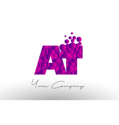 at a t dots letter logo with purple bubbles vector image