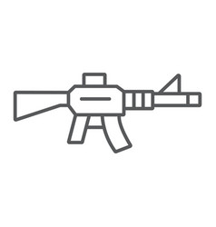 automatic rifle thin line icon army and war gun vector image