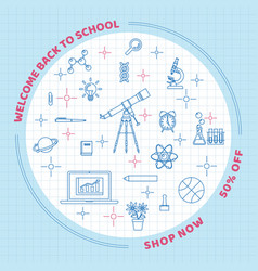 back to school line art elements circle on grid vector image