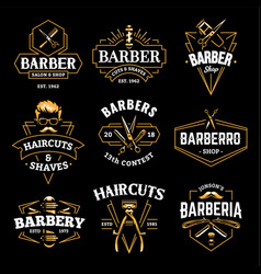 barber shop retro emblems vector image