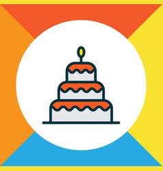 Birthday dessert icon colored line symbol premium vector
