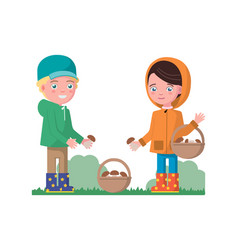 Boy and a girl gathering mushrooms in a basket vector