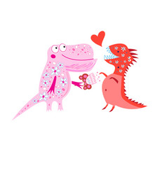 Bright cheerful card with loving dinosaurs vector