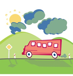 bus on the mountain road vector image vector image