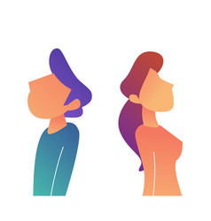 businessman and woman standing back to back vector image