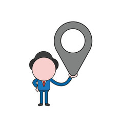 Businessman character holding map pointer color vector
