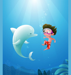 Cartoon boy with dolphin vector