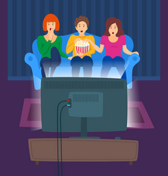 cartoon color characters people and movie night vector image